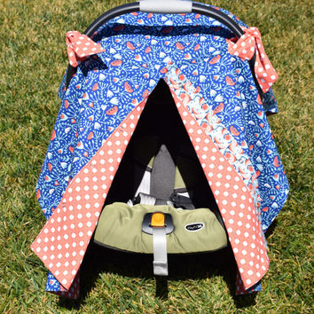 Unisex Infant Car Seat Canopy / Infant Car Seat Cover / Snaps Open & Closed / Blue and Orange Floral Print with Polka Dots
