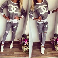 CHANEL Fashion Hollow Sport Gym Set Two-Piece Top Pants Sportswear