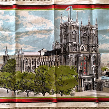 Vintage 1960s Westminster Abbey Souvenir Tea Towel / Designed by Ulster / Made in Ireland / Pure Linen