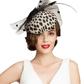 ec09e83c49a58 Black Leopard Pillbox Hat With Veil 100% Australian Wool Felt Wedding Hats  Women Vintage Bow