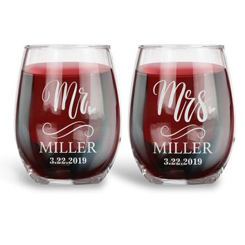 Personalized 15 oz. Stemless Wine Glass for Wedding, Wine Ceremony | Mr. Mrs. Heart Last Name & Date|Engraved Wedding Registry Gift Ideas