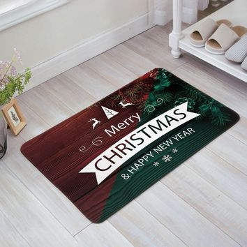 Christmas Decor Doormat Wooden Plank Backdrop Old Fashioned Christmas Theme Ornaments Indoor/Outdoor/Front Welcome Door Mat