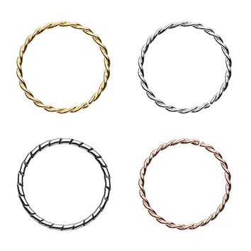 Gold, Rose Gold, Silver Twist & Textured Rope Steel Bendable Nose Hoop