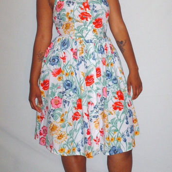 Vintage 1980s Halter Dress Floral Design
