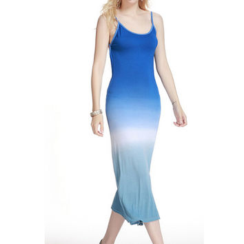 Blue Tie Dye Ombre Print Backless Dress