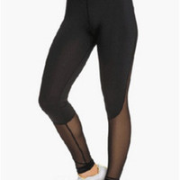 Black Mesh Accent Leggings