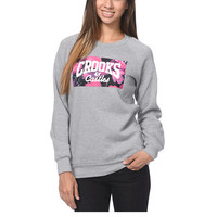 Crooks and Castles Flower Bomb Grey Crew Neck Sweatshirt at Zumiez : PDP