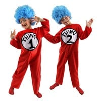 Dr. Seuss Cat in the Hat Thing 1 & Thing 2 Costume - Kids' (Blue/Red)