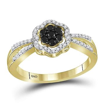 10kt Yellow Gold Women's Round Black Color Enhanced Diamond Flower Cluster Ring 1/3 Cttw - FREE Shipping (US/CAN)