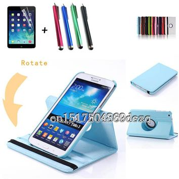 Stylus+protective film+high quality 360 Rotating PU Leather Case For Samsung Galaxy Tab 3 8.0 T310 T311 T315 Cover Tab3 8inch