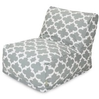 Majestic Home Goods Trellis Bean Bag Chair Lounger, Gray