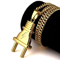 The Plug 18K Gold Plated Pendant Necklace