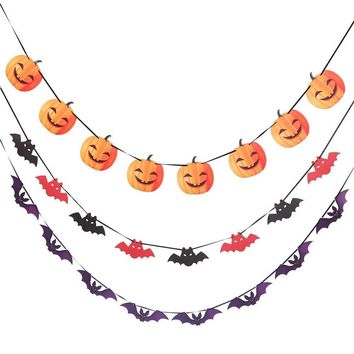 Halloween Party Paper Flag Haunted House Decor Pumpkin Bat Skull Garland Banner Props Pendant Decor Festive Party Supplies