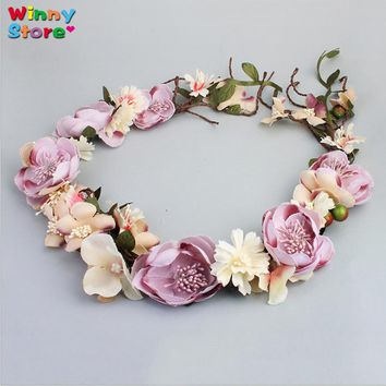 Handmade Waved Colorful Flower Wreath Headband Beach Head Accessories Bride Garland Party Prom Headdress Wedding Hair Jewelry