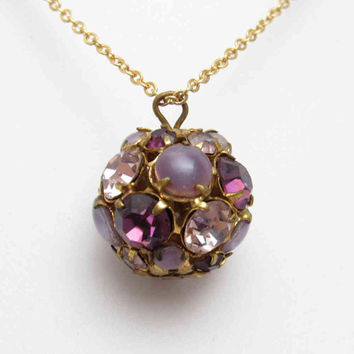 Rhinestone Ball Pendant Vintage Rhinestone Necklace Purple Jewelry N7575