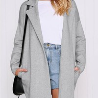 New Grey Patchwork Pockets Turndown Collar Casual Outerwear