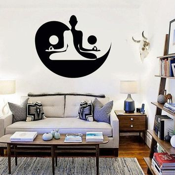 Yin Yang Pattern Removable Wall Stickers For Yoga Studio Vinyl Wall Decal Zen Interior Meditation Home Decal Buddha Decor SYY848