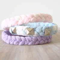 Stack Bracelets Woven Studded Pastels Recycled Bleached T Shirt Small