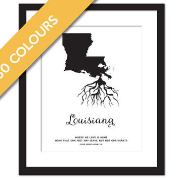 Louisiana Roots - State Map Art Print - Louisiana Map - Geography - Louisiana Art Print - Louisiana Poster - Travel Art - Custom State Print