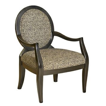 A.M.B. Furniture & Design :: Living room furniture :: Accent chairs :: Leopard Oval Back Accent Chair with black finish wood frame