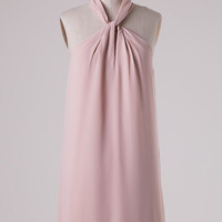 Twisted Halter Neck Dress - Champagne