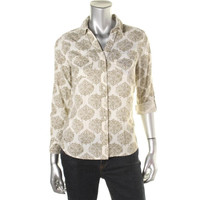Style & Co. Womens Petites Cotton Pattern Button-Down Top