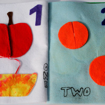 Quiet Book with rainbow colors, numbers, fruits and vegetables in 6 pages