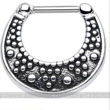 ac DCCKO2Q 2015 Fake Piercing Hot New Nose Ring Set Piercing Kit Lot Of Stud Septum For Clicker Titanium Steel Jewelry 3 Different Styles