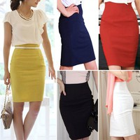 Pencil Skirts Womens Knee-Length Office Skirts