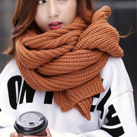 Brown Super Long Knitted Scarf. Unisex Tan Winter Scarf Knit Scarf
