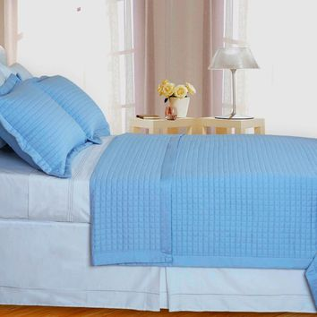 Lit-Blue Checkered Coverlet Set 3PC Combed cotton 400 Thread count Reversible