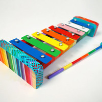 Hand Painted Rainbow Ombre Xylophone