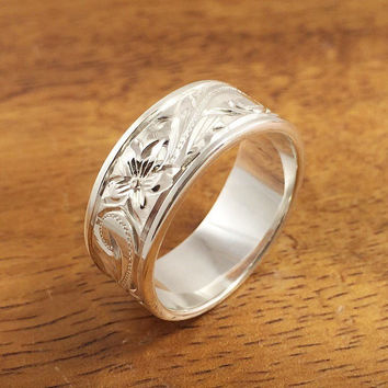 Hawaiian Ring - Hand Engraved Sterling Silver Ring (6mm-8mm width, Flat style)