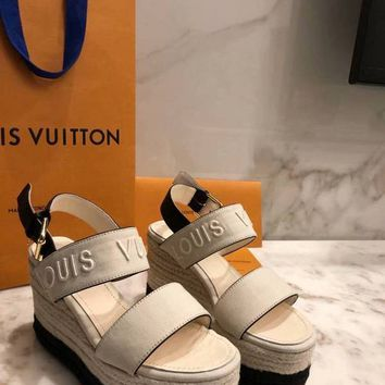 LV Louis Vuitton Sandals Shoes 100mm Heel White Thick Bottom Beige Casual Women Slippers