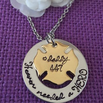 Firefighter Memorial Jewelry Necklace - Memorial Jewelry Dad - Firefighter  Jewelry - Heaven needed a Hero - Remembrance - sympathy gift - G