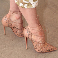 ON SALE 2016 Rihanna Lace Up Women Pumps Sexy Laser Cut Outs High Heels Women Wedding Shoes Stiletto Pointed Toe Plus Size 35-43