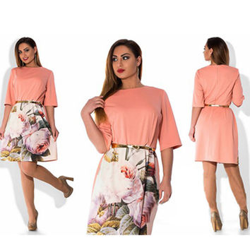 Plus size casual new summer knee-length dress o neck