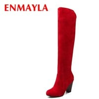 ENMAYLA Fashion High Heels Long Boots Women Flock Round Ladies Knee High Boots Shoes Woman Winter Faux Suede Black Red Boots