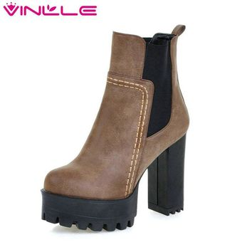 VINLLE Women Boots Square High Heel Western Style Elastic Band Solid Ankle Boots Round Toe Platform Ladies Boots Size 34-43