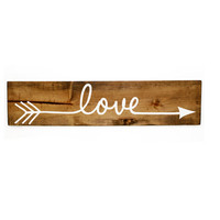 "24"" Love Arrow Sign with Vinyl Decal - Indie / Boho Decor, Feather Arrow, Tribal Bedroom Wall Decor, Aztec Wood Sign, Gift"