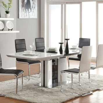 7 pc Broderick collection white and and black high gloss finish dining table set with black leather like vinyl chairs