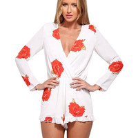 White Floral Print Wrap V-Neckline Long Sleeve Romper with Ruffled Hem