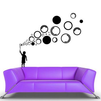 Wall Decal Vinyl Decal Sticker Decal Boy with Bubbles Funny Nursery Kids Baby  z549