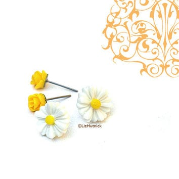 Mini Yellow Rosettes and White Daisy Posts. Resin Flower Stud Earrings.