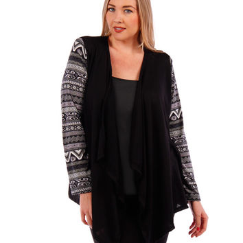 Plus Size Cardigan with Printed Sleeves