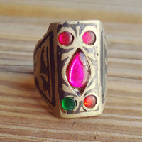 Vintage ring- rustic ring- Rustic jewelry- Afghan ring- Kuchi ring- Tribal bohemian ring- Stone ring- Bedouin jewelry- Aqeeq- Vintage bague
