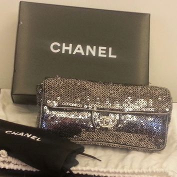 Auth Chanel Black Embroidered Sequined Flap Bag