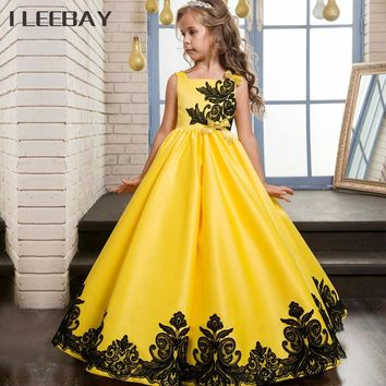 High Quality Kids Girls Princess Long Dress Lace Rose Party Gown Wedding Teenager Flower Girl Evening Dress Toddler Bow Costume