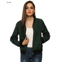 Army Green Bomber Jacket Women Basic Coats Celeb Bombers Stand Collar Zip Up Short Black Autumn Coat Jackets Chaquetas Mujer XL