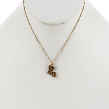 Gold State Of Louisiana Charm Necklace